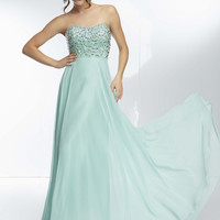 Mori Lee 95015 - Mint Strapless Scallop Beaded Prom Dresses Online