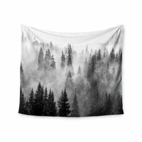 Forest Fog - Black White Nature Photography Wall Tapestry
