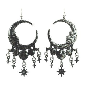 Celestial Goth Crescent Moon Face and Stars Sleepless Nights Witchy Silver Earrings