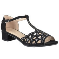 Womens Dress Sandals Chunky Heel Cutout Accented Shoes black