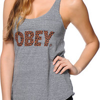 Obey Cheetah Font Heather Grey Tank Top