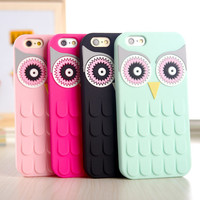 New Arrival 3D Cute Cartoon OWL Soft Silicon Rubber Phone Case Cover For iPhone 4 4s 5 5s 5c 6 4.7 6 plus 5.5