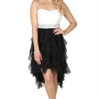Strapless High Low Dress with Sweetheart Neckline and Stone Waist