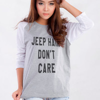 Jeep Hair Dont Care Shirt with Sayings Baseball Jersey Tee Hipster Shirts for Womens Teen Girl Clothes Shirts Women Clothing Tops Tshirt