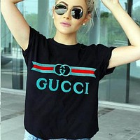 Gucci Embroidery Lake blue Print Women Men Flower Print Colorful Print Tee Shirt Top Black