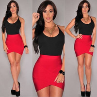 Black and Red Strappy Arched Bodycon Mini Dress