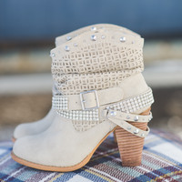 This Way Or That Way Slouch Studded Booties (CREAM)
