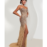 Jasz Couture 2013 Prom -Strapless Gold Feather Gown With Rhinestones - Unique Vintage - Cocktail, Pinup, Holiday & Prom Dresses.