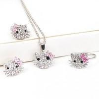 Silver Kitty Rhinestone Crystal Fashion Jewelry Set with Pink Bow - Ring Earrings Necklace 3 in 1 Set