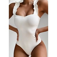 Women's Bikini solid color wooden ear strap sexy one piece swimsuit