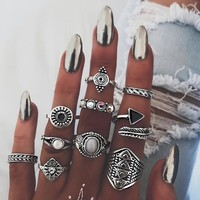Leaf Stone Midi Ring Sets Vintage Crystal Opal Knuckle Rings for Women Anillos Mujer Jewellery 10PCS/Lot