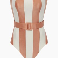 Strapless Belted One Piece Swimsuit - Rose Stripe Print