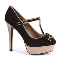 Black Bow Bar Platform Court Shoes