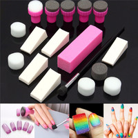 Nail Art DIY Sponge Pen Stamp Buffer Stamping Polish Transfer Manicure Set
