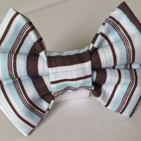 Brown & Blue Striped  Bow Tie Collar Accessory for Male Dogs and Cats