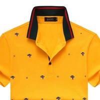GUCCI 2019 new personality embroidered men's polo shirt half sleeve t-shirt Yellow