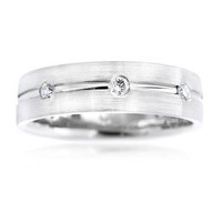 .32ct Men's Diamond 18K White Gold Wedding Band Ring