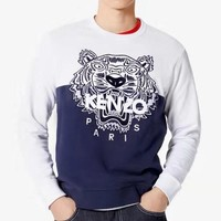 Kenzo fashion casual men and women spell tiger head embroidery logo round collar sweater