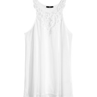 H&M - Jersey Top with Lace - White - Ladies