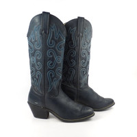 Blue Cowboy Boots Vintage  Leather Wrangler Women's  size 5 1/2