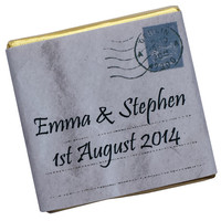 100 Personalised Chocolate Wedding Favours - Postcard