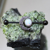 White Fire Opal Moon Goddess Scaffold/Industrial Piercing Barbell - UK Seller