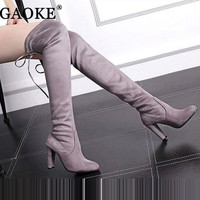 ONETOW Women's Suede Thigh High Boots Over the Knee Boots Stretch Sexy Botas Overknee High He