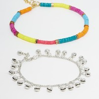 ASOS | ASOS Pack of 2 Rainbow and Bead Anklets at ASOS