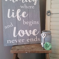 Family quote sign | distressed sign | anniversary gift idea | rustic home decor | barn wood sign | rustic | housewarming gift |