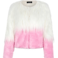 Pink Color Block Faux Fur Coat
