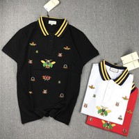 Gucci Unisex Fashion Casual Insect Embroidery Multicolor Stripe Lapel Short Sleeve T-shirt Couple Polo Shirt Tops