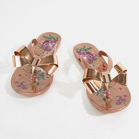 Ted Baker Rose Gold Floral Bow Detail Flip Flop at asos.com