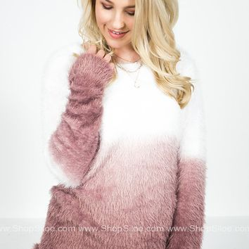 Blushing Ombre Fuzzy Sweater