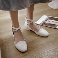 Woman's Strappy Low Heels Shoes