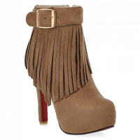 Stiletto Heel Boots With Buckle and Fringe Design