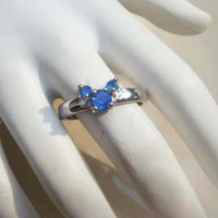 Vintage sapphire Mickey Disney ring silver toned