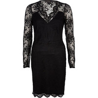 River Island Womens Black lace plunge bodycon dress