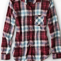 AEO Women's Plaid Boyfriend Shirt (Burgundy)