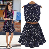 Black Patterned Sleeveless Collared Dress With Belt