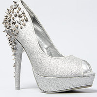 *Sole Boutique Glitter Spiked Heel in Silver