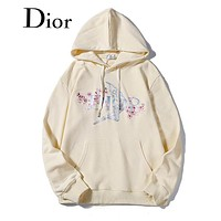 DIOR Newest Fashion Casual Cherry Blossom Digital Print Hoodie Sweater Sweatshirt Beige&Yellow