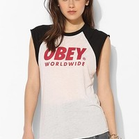 OBEY Logo Font Raglan Muscle Tee - Urban Outfitters
