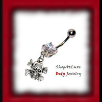 3D Skull Dangle Belly Ring - customize your piece