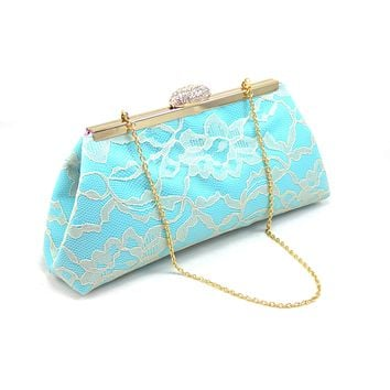 Aqua Blue, Champagne Lace and Dusty Rose Bridal Clutch