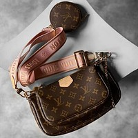 Louis Vuitton LV Women Fashion Leather Tote Crossbody Shoulder Bag Satchel Three Piece Set