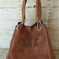 Monogrammed Carmel Brown Hobo Handbag - 2 in 1 Bag - Personalized Convertible Purse - Monogrammed Crossbody Pocketbook - Monogram Tote