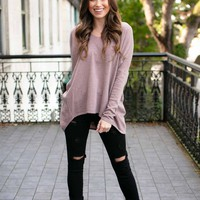 Finders Keepers Dolman Sleeve Sweater in Mauve