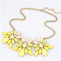Yellow Floral Shape Chain Necklace