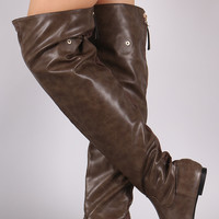 Statement Back Zipper Leather Slouchy OTK Boots
