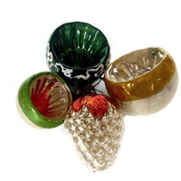 Glass Christmas Ornaments, Grape Cluster, Indent Silver, Gold, Green, Set of Four